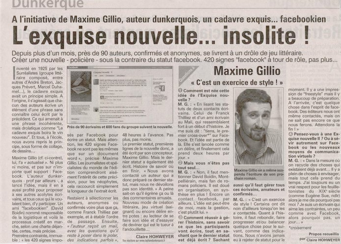 Article de Claire Hohweyer, in Le phare dunkerquois
